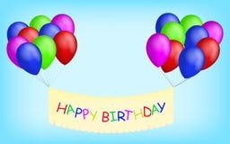 Den lyckliga födelsedagen sväller med banret Arkivbilder