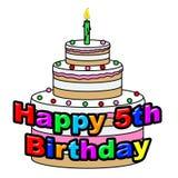 Den lyckliga femte födelsedagen föreställer lyckönskan firar och att gratulera stock illustrationer