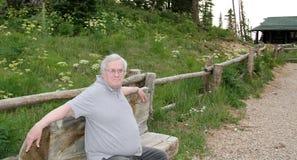 Den lyckliga gamala mannen parkerar på bänken Arkivbilder