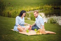 Den lyckliga glade unga familjmaken och hans gravida frun som har roligt tillsammans utomhus, på picknicken i sommar, parkerar royaltyfria foton