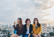 Den lyckliga gruppen av asiatiska flickavänner tycker om att skratta och gladlynt sp arkivbild