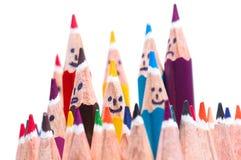 Den lyckliga gruppen av blyertspennan vänder mot som socialt nätverk Royaltyfria Foton