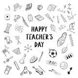 Den lyckliga hälsningen för dagen för lärare` s på vit bakgrund, klottrar skissar freehand utbildningsteckningsillustrationer arkivfoto