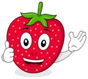 Den lyckliga jordgubben tummar upp tecken Royaltyfria Bilder