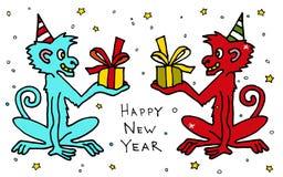 Den lyckliga kinesiska nya 2016 år färgrika tecknad filmvektorn härmar macaquen med gåvor greeting lyckligt nytt år för 2007 kort Arkivbilder