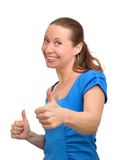 Den lyckliga kvinnan tycker om framgång Arkivbilder