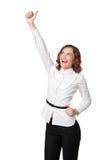 Den lyckliga le affärskvinnan med ok räcker undertecknar Royaltyfria Bilder