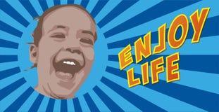 den lyckliga lilla flickan som skrattar på blå starburstbakgrund med, tycker om livtext Fotografering för Bildbyråer