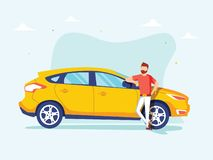 Den lyckliga lyckade mannen står bredvid en gul bil på en bakgrund Vektorillustration i tecknad filmstil stock illustrationer