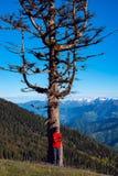 Den lyckliga lycksökaren mediterar i bergen Royaltyfri Foto