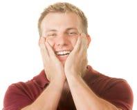 Den lyckliga manen med räcker vänder mot på arkivbild