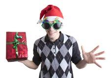 Den lyckliga mannen i jul party exponeringsglas Royaltyfria Bilder