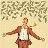 Den lyckliga mannen kastar pengar Retro stilpopkonst Arkivfoton