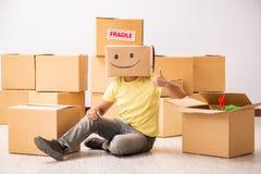 Den lyckliga mannen med asken i stället för hans huvud arkivbilder