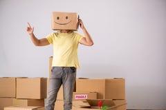 Den lyckliga mannen med asken i stället för hans huvud arkivfoton