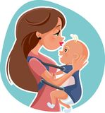 Den lyckliga modern med behandla som ett barn vektorillustrationen royaltyfri illustrationer