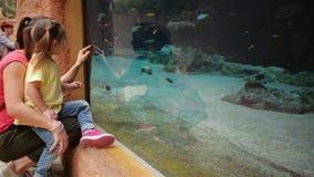 Den lyckliga modern med hennes dotter ser i akvarium med fiskarna De har mycket gyckel denna dag för moder` s stock video