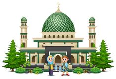 Den lyckliga muslimen lurar tecknade filmen framme av en moské stock illustrationer