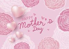 Den lyckliga nejlikan för designen och för rosa färger för dag för moder` s blommar med hjärta royaltyfri illustrationer