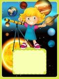 Det milky sol- systemet - långt - astronomi för ungar - illustration för barnen royaltyfri illustrationer