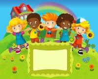 Gruppen av lyckliga förskole- ungar - färgrik illustration för barnen Royaltyfri Bild