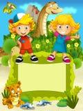 Gruppen av lyckliga förskole- ungar - färgrik illustration för barnen Arkivbild