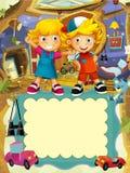 Gruppen av lyckliga förskole- ungar - färgrik illustration för barnen Royaltyfria Foton