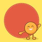 Den lyckliga orange maskot noterar teckentecknad filmvektorn Royaltyfri Foto