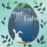 Den lyckliga påsken med vit kanin i skogen, papperskonst i äggformbakgrund för ferie, firar partiet eller affischen fotografering för bildbyråer