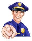 Den lyckliga peka polisen Man Royaltyfri Bild