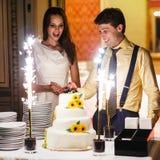 Den lyckliga roliga bruden och brudgummen som cuting den stora vita weddinkakan, dekorerar Fotografering för Bildbyråer