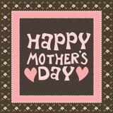 Den lyckliga rosa färgen för moderdagen blommar kortet Arkivbild
