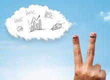 Den lyckliga smileyen fingrar se molnet med handen drog diagram Arkivbilder
