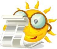 Den lyckliga solen med en tidning - illustration för barnen Royaltyfri Bild