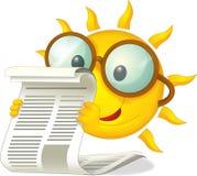 Den lyckliga solen med en tidning - illustration för barnen Arkivfoton