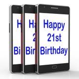 Den lyckliga 21st födelsedagen Smartphone visar att gratulera på tjugo på royaltyfri illustrationer