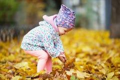 Den lyckliga stads- lilla flickan som går i stadshöst, parkerar Royaltyfri Bild