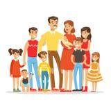 Den lyckliga stora Caucasian familjen med ståenden för många barn med alla ungar och behandla som ett barn och färgrika tröttade  stock illustrationer