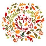 Den lyckliga tacksägelsedagen lämnar banret Royaltyfria Bilder