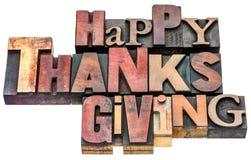 Den lyckliga tacksägelsen undertecknar in wood typ Royaltyfria Bilder