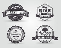 Den lyckliga tacksägelsevektorn förser med märke och etiketter Arkivbilder