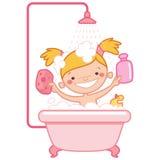 Den lyckliga tecknade filmen behandla som ett barn flickan som ungen i rosa bad badar Arkivfoton