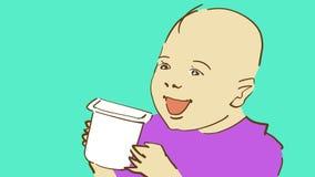 Den lyckliga tecknade filmen behandla som ett barn hållande yoghurt Royaltyfria Foton