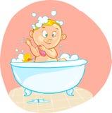Den lyckliga tecknade filmen behandla som ett barn ungen i bad badar Arkivbilder