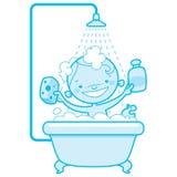 Den lyckliga tecknade filmen behandla som ett barn ungen i bad badar blå version Arkivfoton