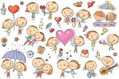 Den lyckliga tecknade filmen kopplar ihop förälskat, uppsättning för dag för valentin` s stock illustrationer
