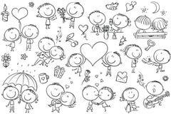 Den lyckliga tecknade filmen kopplar ihop förälskat, uppsättning för dag för valentin` s royaltyfri illustrationer