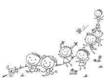 Den lyckliga tecknade filmen lurar spring, vektorram med ett kopieringsutrymme royaltyfri illustrationer