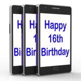 Den lyckliga 16th födelsedagen på telefonen betyder sextonde Royaltyfri Fotografi