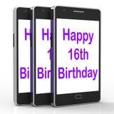Den lyckliga 16th födelsedagen på telefonen betyder sextonde Arkivfoto